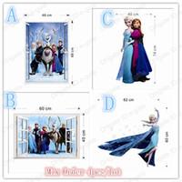 Wholesale Mix order FROZEN Elsa Anna PRINCESS D Window View Cartoon Decal WALL STICKER PVC Removable Wall Sticker Home Decor Art Kids