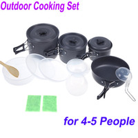 Cookware anodised aluminum - 8pcs set Outdoor Cooking Set Camping Pan Pot Kit Picnic Cookware Utensils for People Portable Anodised Aluminum Non stick H10119