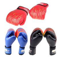 Wholesale 2016 New Professional PU Leather MMA Flame Muay Thai Training Punching Sparring Fighting Boxing Gloves g Black Blue Red H10558