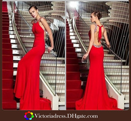 Wholesale Wow Incredible Fashioned Sexy Backless Prom Dress Formal Evening Celebrity Dresses Beaded Crew Neck Red Mermaid Gown Hot Selling