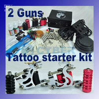 Other Material Machine Other Machine Liner & Shader Wholesale - Tattoo Machine Kit 2 Guns Supply Set Equipment Complete 110V 230V US Plug Professional