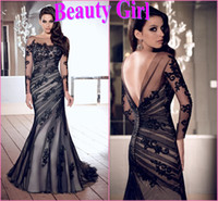 Wholesale 2014 New Elegant Sexy Mermaid Floor Length Court Train Lace Dress with long Sleeves Back V Formal Evening Dresses Prom Gown