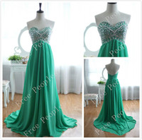 Wholesale Sweetheart Backless Prom Dresses New Sleeveless Low Back Evening Dresses with Crystals Ruched Jade Green Chiffon Long Prom Formal Gowns