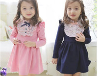 Wholesale Best selling Children Girls Flower Lace Dresses Long Sleeve Wear Girls Princess Dress Formal Clothes For3 T Koearn Style M0154