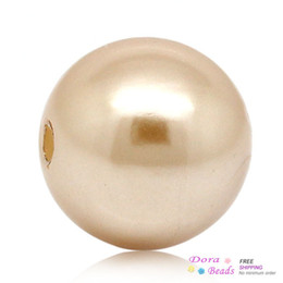 Acrylic Pearl Imitation Spacer Beads Ball Round Rose Gold 12mm Dia,Hole:Approx 1.8mm,100PCs (B26882)