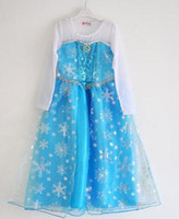 Wholesale DHL EMS FAST Frozen Elsa lace dress formal dress Princess Dresses Kids girl blue summer long sleeve pageant Cartoon girl party dress