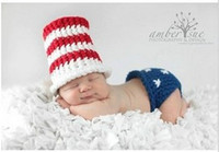 Boy Winter Newborn Hat Baby Infant Crochet American Flag Hat and Pants Costume Outfit Photography Props Knitting Newborn Beanies Free Shipping