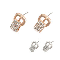belt buckle diamond earrings - 2014 New Arrival mm Exquisite Belt Buckle Diamond Studded Metal Earrings Two Different Colors Pairs