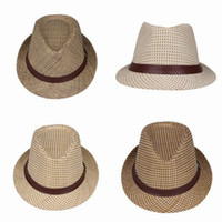 Wholesale Children Straw Jazz Hats Outdoor Kids Casual Travel Caps Summer Soft Beach Sun Hats Colors Choose EGV
