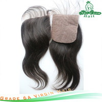 Brazilian Hair Natural Color,sometime is brownish Straight grade 6a virgin unprocessed brazilian straight silk closure 4''x4''swiss lace silk base closure 10''-18''1pcs lot free shipping