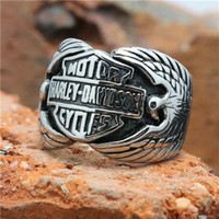 Wholesale New Hot Selling Flying Eagle Motorcycles Ring L Stainless Steel Top Quality Cool Man Boy Eagle Biker Ring