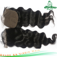 Brazilian Hair Natural Color,sometime is brownish Loose Wave grade 6a virgin silk base closure brazilian hair 4''x4'' loose wave swiss lace closure bleach knot 10''-18''1pcs lot free shipping