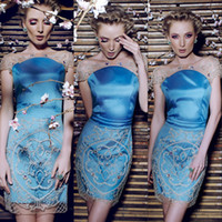 Reference Images Scoop Satin Sparkle Sheer Soop Cap Sleeves Applique Beaded Satin Sheath Short Blue Cocktail Dresses Homecoming Prom Dresses Sexy Cute Party Gown Cheap