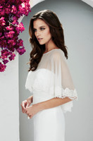Wholesale 2014 Modest Glamorous Lace Bridal Jackets With Stunning Bateau Neckline Chiffon Lace Wedding Wraps Hot Sale Cheap