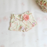 belt leggings - baby girl kids vintage rose flower short pants shorts legging Jeans floral legging short pants Jeans rosette belt pajamas PJ S beige