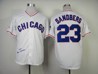 Wholesale Chicago quot Cubs quot Ryne Sandberg White Throwback Baseball Jerseys Retro Jersey Buttons Up Team New Jersey Cheap Outdoor Jerseys ON SALE