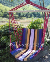 Cotten Outdoor Furniture China (Mainland) In stock Deluxe Outdoor Colorful Canvas Hanging Hammock Sky Swing Chair For Single