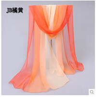 Wholesale Women High Quality Gradual colors spring and autumn scarf long chiffon scarf female silk scarves shawl cm