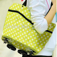 Folding Plain Polyester Travel Portable Oxford folding shopping cart\foldable shopping trolley tote bag with wheel Rolling Green Orange