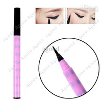 Liquid   Wholesale - 10pcs lot New Black Soft Brush Liquid Eyeliner Pen Lasting Eye Liner Pencil Makeup Cosmetic 10830