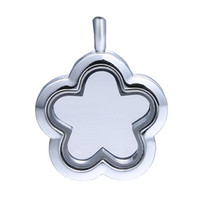 Lockets Celtic Unisex free shipping wholesale 30mm flower Shape Rhodium Plated floating Locket, Charm Lockets,Glass locket for mother's day gift FL002