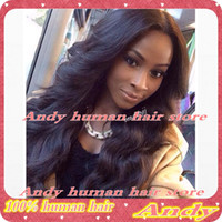 Wholesale 2014 Glueless full lace human hair wigs amp front lace human hair wigs Brazilian virgin hair natural hairline for balck women