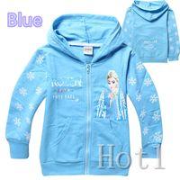 Unisex Spring / Autumn Hooded DHL free shipping Frozen elsa anna Cotton Cloth Jacket Blue children hoodies children hoody outerwear coats for children 95-140cm 60pcs