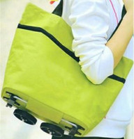 Folding Plain Polyester Travel Portable Oxford tugboat fashion rack folding shopping cart\foldable shopping trolley tote bag with wheel Rolling