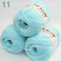 Yarn   SALE LOT of 3 Skeins DK 4ply Silk wool cashmere warm baby yarn Knitting LightCyan 11