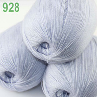 Yarn   Lot 3 Skeins LACE Soft Acrylic Wool 5% Cashmere Yarn Knitting Light Silve 928