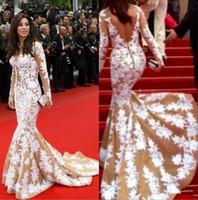 Wholesale 2014 Najwa Karam Zuhair Murad Prom Dresses Mermaid Beaded Lace Long Sleeve th Annual Golden Globe Awards Celebrity Dress Ke154