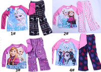 Wholesale Direct Line Frozen Baby Girls Y Yrs Fleece Kids Pajamas Set Elsa Anna Princess Snow Queen Cotton Piece Suits Sleepwear PJS