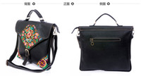 Wholesale Leather handbag folk style embroidery female Bag Leather Shoulder Messenger briefcase
