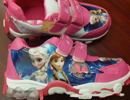 Wholesale 2014 hot style FROZEN soft bottom sneakers yards double Velcro casual shoes Children walking shoes PU baby shoes pair
