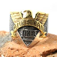 Wholesale New Hot Selling Golden Flying Eagle Biker Ring L Stainless Steel Top Popular Cool Man Biker Ring
