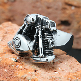 Wholesale Cool Engine - New !! Hot Selling Silver Motorcycles Engine Biker Ring 316L Stainless Steel Top Popular Cool Man Hot Biker Ring