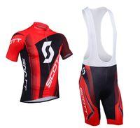 Wholesale Scott Bike Wear Red Black Cycling Jerseys set Short Sleeve Bib pants Padded Cyling Clothing Factory Road Racing Cycling Wear
