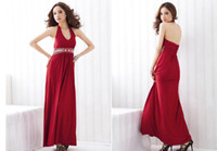 Halter beaded halter neck wedding dresses - 2014 Hot Sexy Halter v neck backless beaded crystal prom dresses Chiffon wedding Evening Party pageant dresses Bridesmaid dress bridal gowns