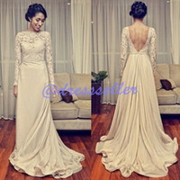 A-Line Reference Images High Collar 2015 New Arrival Luxury Vintage High Neck Long Sleeve Low Back Backless A-line Chiffon Skirt Full Lace Overlay Beaded Sash Wedding Dresses