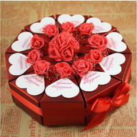 Wholesale 2014 New Cake Shaped Wedding Favor Candy Box Red Paper Gift Bag With Artificial PE Rose Silk Flower For Wedding Party Supplies