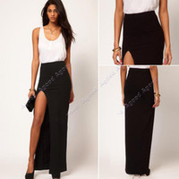 Polyester Long Casual Wholesale - 2014 new fashion Women's Side Split Slim Long Maxi Skirts Ladies Full Length Skirt 19041