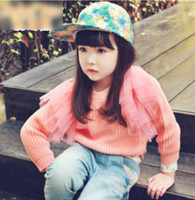 Girl Spring / Autumn Short 2014 New Items Pure Color Children Sweater Long Sleeve Pullover Girls Sweater Girls Lace Tutu Patch Falbala Clothing Girls Kid Clothes J0540