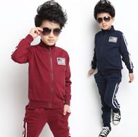 Boy clothing sport coats - 2014 Child Clothing Spring Autumn Baby Boy Clothes Long Sleeve Sport Out Wear Set Sport Wear Boy Coat Boy Pants Set Via EMS L25800