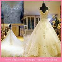 Ball Gown Model Pictures V-Neck Real Picture! 2014 New Elegant White Extravagant V-Neck Rhinestone Ball Gown Wedding Gowns Bling Bling Bridal Dress