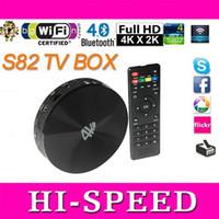 Wholesale 5pcs Amlogic S802 Quad Core Smart Android TV Box GB GB Mali450 GPU K HDMI Bluetooth4 Android KitKat Mini PC S82 tronsmart vega S89