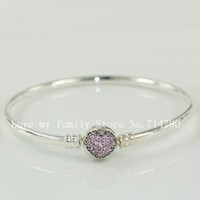 Wholesale 925 Sterling Silver Pink Pave Heart Bangle Bracelet with Snap Clasp for European Charms and Beads