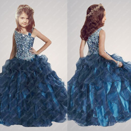 Wholesale New Arrivals Beading Princess Ball Gown flower girls dresses Long Girl s Pageant Dresses