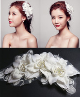 Wholesale Beaded Flower Lace Bridal Hair Accessories with Pearls Girls Headwear Romance