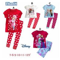 Unisex Spring / Autumn Short Frozen Princess children's clothing sets,cut cartoon girls pajama sets,toddler baby kids pijama sleepwear suit