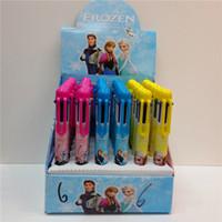 Wholesale 2015 New factory price Elsa Anna ballpoint pens Snow princess color ball pen Cartoon Ball point pen office supplies pens Box